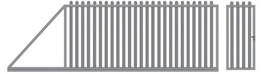 Откатные ворота из евроштакетника с калиткой